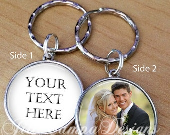 Photo keychain, 2 sided keychain - double sided keychain, Double-Sided Photo Keychain - Wedding Anniversary Jewelry - Anniversary Gift