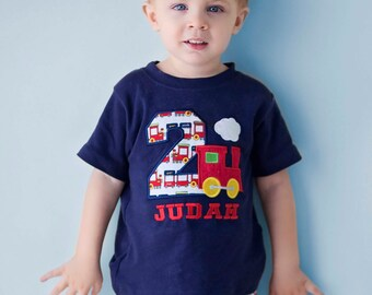 Boy's Train Birthday Shirt with Train Number and Embroidered Name