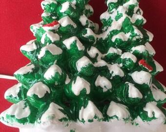 Dept. 56 snow covered green Christmas trees light