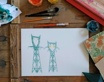 Dreamy towers, screenprint, green/yellow emmeraude - Guz's Goods