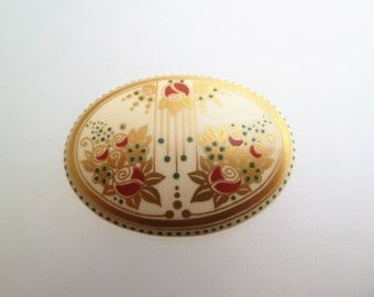 Signed Michaela Frey Oval Enamel Vintage Brooch Cream with Gold Red and Green Art Nouveau Style Floral Design