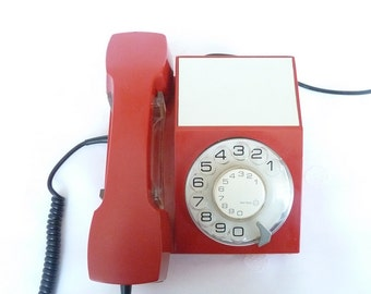 Retro Rotary Telephone red color vintage Iskra