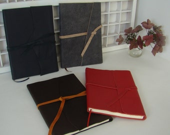 A5 note book blank-various colors-leather-leather write book-journal with leather cover