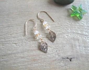 Crystal Leaf Earrings // 14K Gold Filled / Citrine / Rose Quartz / Beaded / Leaves / Orange / Pink / Simple / Elegant / Minimal / Wedding