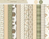 Camp Ground Digital Scrapbook Paper Pack - Owls, Quatrefoil, Tartan and Nature Inspired Designs - Commercial Use CU4CU