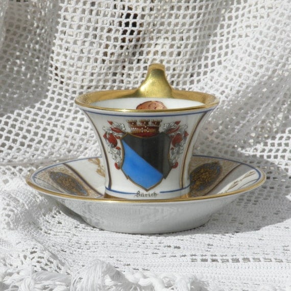 Vintage German porcelain cup and saucer, Bavaria porcelain, German porcelain, vintage cup and saucer, vintage coat of arms, decorative cup
