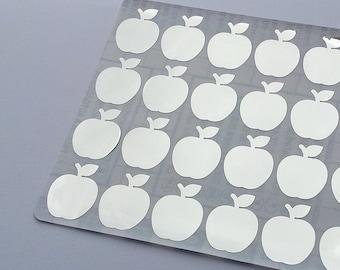 48 Metallic Silver Apple Stickers, Apple Planner Stickers, Apple Envelope Seal, Apple Party Stickers, Wedding Stickers, Birthday Stickers