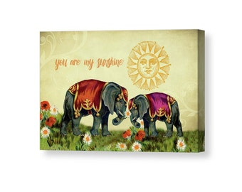 Nursery Decor, You Are My Sunshine, Elephant Art, Whimsical Art, Canvas Wall Art, Romantic Gift, Romantic Art, Boho Art, Wrapped Canvas