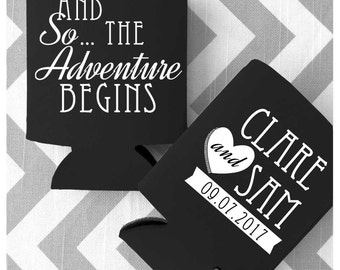 And So The Adventure Begins Wedding Can Coolers - Free Shipping (49)