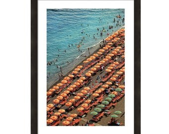 Framed Italy Photography Positano Beach Photography Framed Wall Art Vertical Wall Art 8x10 11x14 Large Wall Art 24x36 30x40 Blue Orange