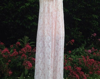 Vintage 1960s/1970s long pink & white lace night dress.