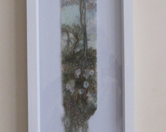 EMBROIDERED LANDSCAPE -  ART landscape,  Textile art, free motion embroidery, embroidered art, framed embroidery, landscape.