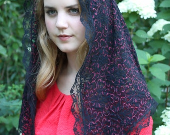 Evintage Veils~ Black and Red  Floral/Scrollwork Classic Traditional Catholic Lace Mantilla Chapel Veil Latin Mass