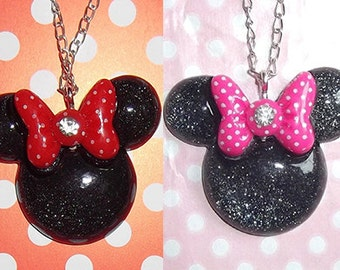 Minnie Mouse pink or red polkadot bow glitter necklace