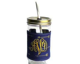 Indigo Arrows Mason Jar Tumbler, Monogram Mason Jar Cup, Gifts for Her, Unique Gifts, Gifts Under 25, Monogram Gifts, Personalized Gifts