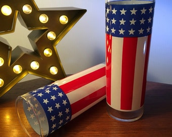 Two American flag stars and stripes tall glasses
