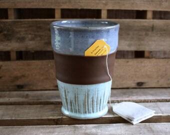 Ceramic Pottery Tumbler - Stoneware Handleless Mug - Tall Pottery Cup