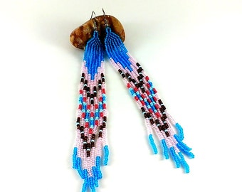 Blue earrings Ethnic style Extra long earrings Shoulder earrings Designer earrings Very long earrings Seed beaded earrings Magenta jewelry