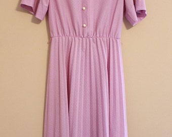 Purple Dress, 80s Vintage Dress, Purple Floral Dress, Vintage Dress, 80s Dress, Polka dot Dress