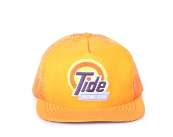 Vintage Orange Trucker Hat / Tid Racing Mens Hat / Nascar Trucker Cap / Baseball Cap / Womens Baseball Hat Cap / Orange Hat / Nascar Hat