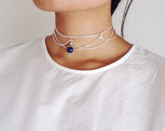 Layla Lapis Lazuli Choker - deep blue - rhinestones - silver