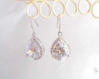 Silver Crystal Wedding Earrings - Bridal Bridesmaids Jewelry - Maid of Honor Gift - Delicate Clear Teardrop Crystal Dangle Earrings