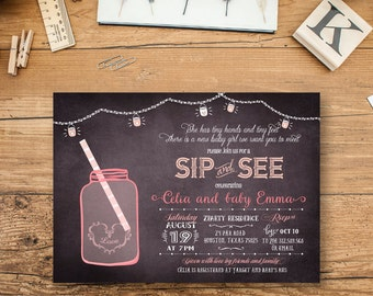 Sip and See Invitation, Sip & See Girl shower invitations, Summer Invites, Baby Girl Shower Invites, Sip and See, Pink Girl Baby Shower, BBQ