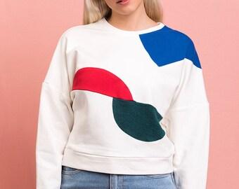 Bauhaus geometric handmade sweatshirt
