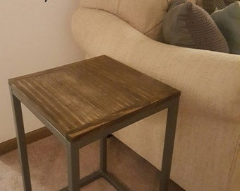 Handmade custom nightstand / end table, metal and wood side table