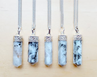 Moonstone necklace, crystal necklace, rainbow moonstone, boho jewelry, healing crystal point, witchy jewelry, grunge bohemian, layering
