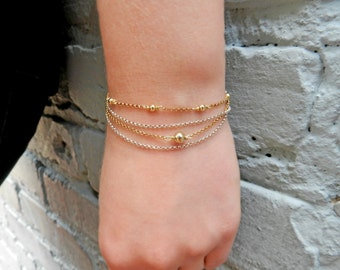 Dainty Bracelet Chain Set, Sterling Silver Bracelet, Two Tone Stacking Bracelet, Delicate Simple Bracelet, Hand Jewelry, Mothers Day Gift
