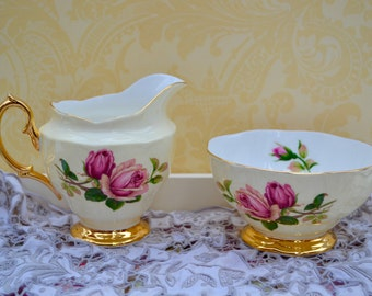 Royal Albert English Beauty- Large Milk Jug and Footed Sugar bowl ( Open ), Yellow with Roses and Gilt,Vintage English China, First Quality