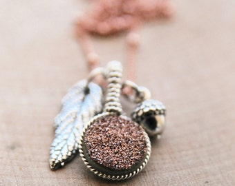 Fall Druzy and Leaf Necklace/ Rose Gold Druzy Fall Jewelry/Peter Pan Jewelry/ Bare and Me Fall Charm Collection/ Leaf and Acorn Jewelry