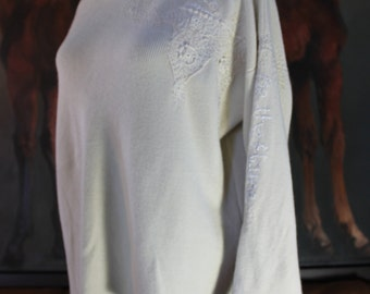 "Zoran silk & cashmere rescued and mended sweater: ""Be the Flame (Not the Moth)"" size L"