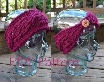 CROCHET PATTERN - The Mini Cables Warmer - Headband - With Button - (PDF File)