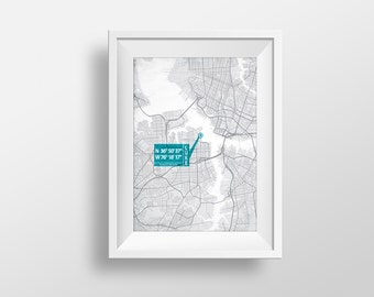 Personalized Anniversary Coordinate Map Art Print. (Latitude, longitude) with your choice of colors and personalized text. Unique gift.