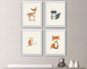 Baby Nursery Art. Woodland Nursery Art. Woodland Nursery Decor. Forest Animals. Forest Friends. Forest Nursery. Bedroom Art. Canvas. NS806