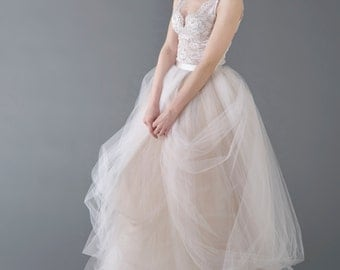 Catherine - wedding dress / bridal gown  / nude bridal gown / champagne wedding dress / tulle wedding dress / unique wedding dress
