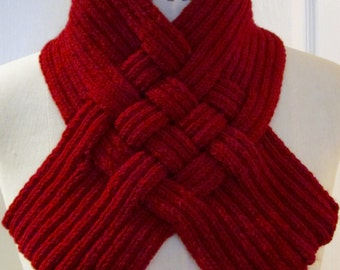 Cherry Red Woven Rib Scarf