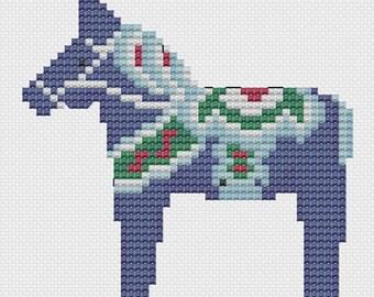Dark Blue Dala Horse Cross Stitch design