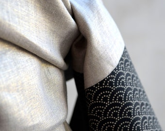 "Stole golden linen and Japanese fabric ""Seigaiha waves."" Japanese graphic pattern. Shawl Scarf for ceremony and wedding"
