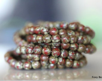 Opaque Marsala Red with Picasso Finish Czech Glass 6mm Round Druk Bead - CZDRU015
