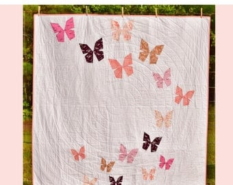 Butterfly Trail PDF Quilt Pattern - Paper Pieced Quilt  of Butterflies Flying - Baby and Throw Sizes