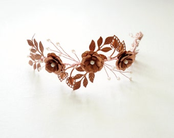 Rose gold flower crown, Rosegold bridal headpiece, Bridal leaves headband, Bridal tiara, Woodland, Rose gold bridal crown Rosegold hair vine