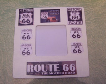 Decoupaged decoupage wooden Route 66 picture frame travel man cave automotive The Mother Road