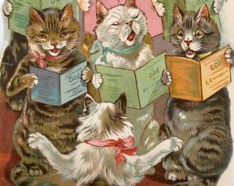 Vintage Tuck children's book illustration cat choir singing cats digital download printable instant image