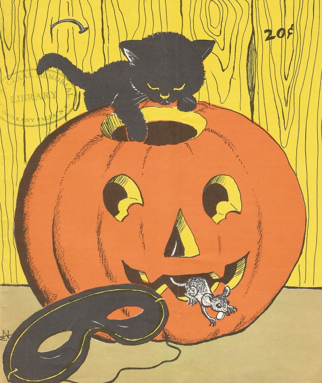 Vintage Halloween magazine cover black cat mask JOL jack o ...