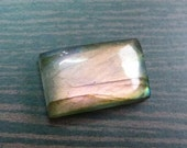 Very Rare & Super Strong Green Flashy Fire, 10x16x6 mm, Finest Quality, 1 Piece Natural Purple Pink LABRADORITE, Smooth Rectangle  Cabochon