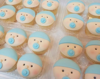 Baby Face Blue Fondant Cupcake Toppers Qty. 12 New Baby Shower Celebration Beanie Pacifier