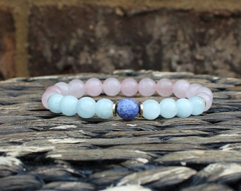 Wrist Mala Meditation Bracelet Sacred Jewelry Sodalite Rose Quartz Aquamarine